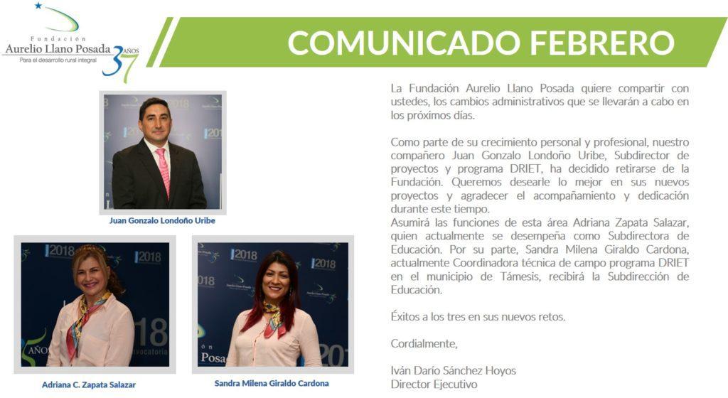 Anuniciar los cambios administrativos en la Fundación Aurelio Llano Posada